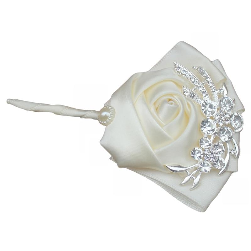 WifeLai-A Handgjorda Pure Color Bouquet Corsage Diamond Rose - Bröllopstillbehör - Foto 5