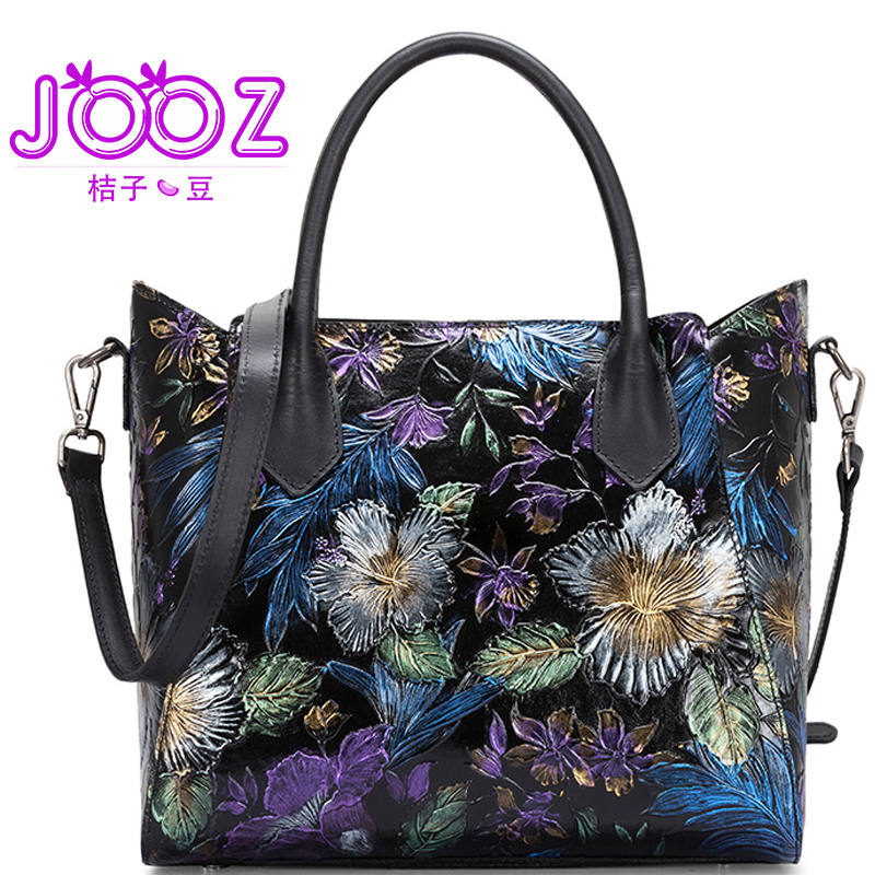 100% Real Cow Leather Ladies HandBags Women Genuine Leather bags Totes Messenger Bags Hand-painted Pattern Luxury Brand Bag niuboa real cow leather ladies handbags women genuine leather bags totes embossed flower hign quality designer luxury brand bag