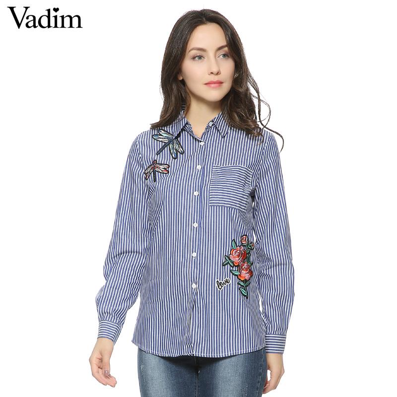 HTB13yusQFXXXXcsXpXXq6xXFXXX7 - Women floral dragonfly embroidery full cotton striped blouse long shirt