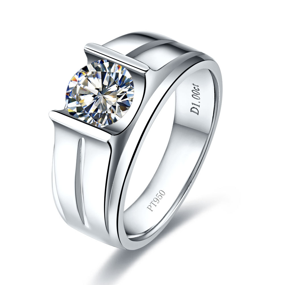 Brief 1Ct Genuine Men Ring Brilliant Synthetic Diamonds Ring Man Engagement  Sterling Silver White Gold Color
