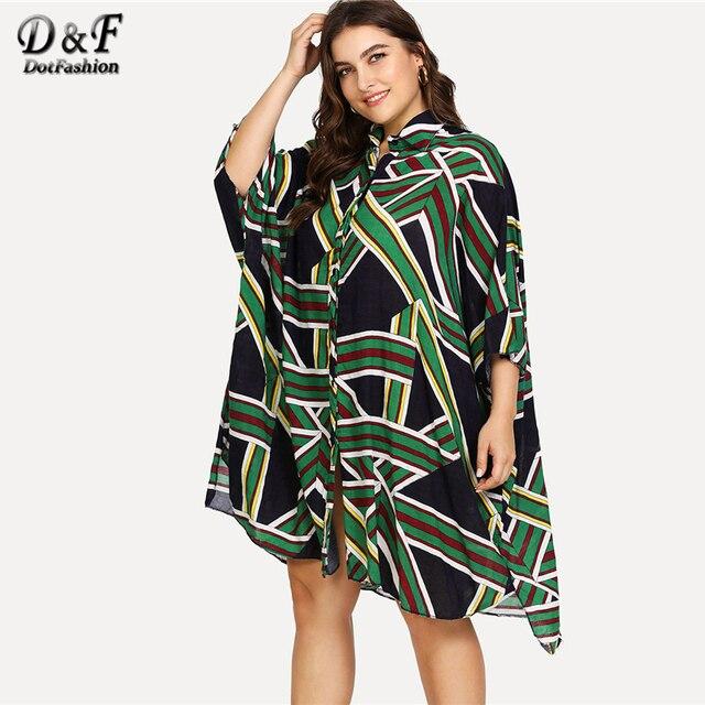 Dotfashion Plus Size Batwing Sleeve Geo Pattern Kaftan Shirt Dress