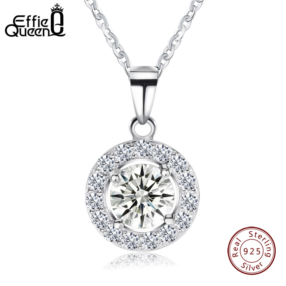 Effie Königin Luxus Kristall Runde Anhänger & Halsketten Echtem 925 Sterling Silber Halskette Geschenk für Frauen Klassische Schmuck BN43