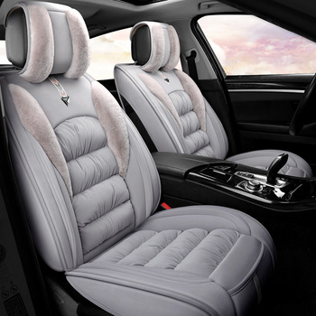 5 Sets Winter Natural down cotton Car Seat Covers Universal Size Fine Wool Cushion