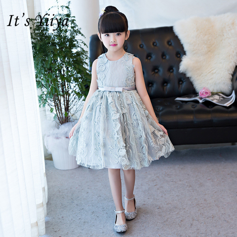 It's yiiya Elegant Lace   Flower     Girl     Dresses   O-neck Sleeveless Ball Gown Gray   Girl     Dress   TS243
