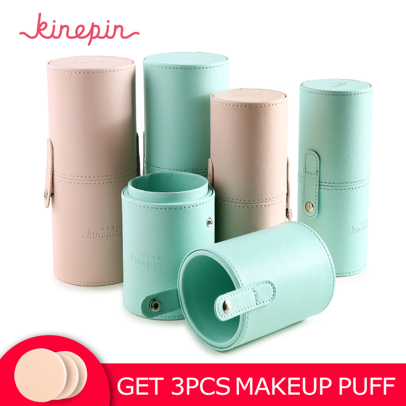 KINEPIN Makeup Brush Holder Empty Portable Make Up Brushes Case Round Pen Organizer Cosmetic Tool PU Leather Cup Container maange dropship leather cosmetic case portable storage makeup bags organizer brush holder cup pu material anne