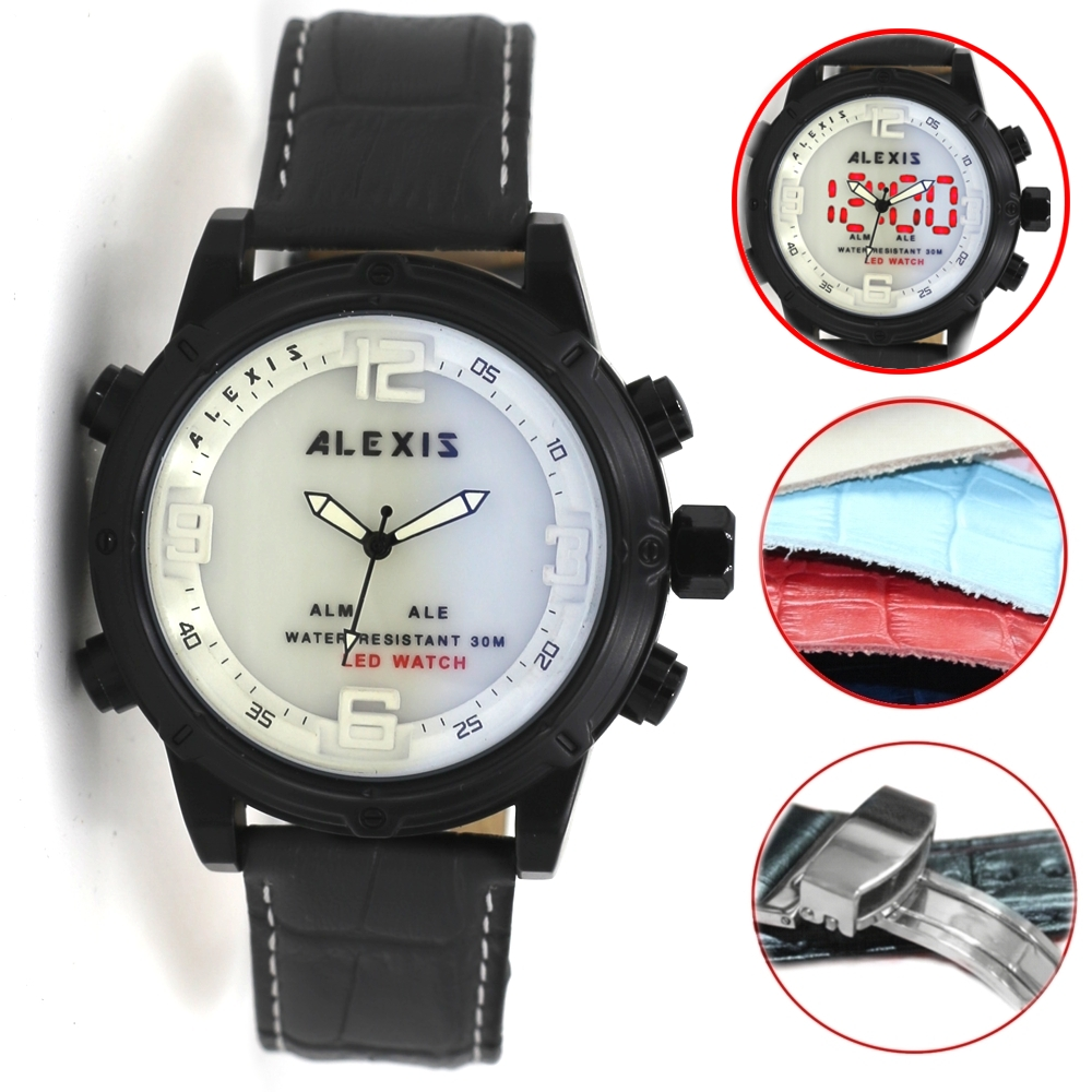 Alexis Brand Alarm BackLight Water Resist Dual Time Analog Digital Watch Men mens watches montre homme horloge mannen