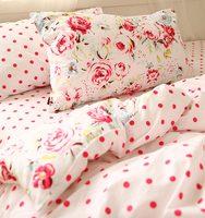 Красный с розами в горошек комплект постельных принадлежностей малыша, хлопок двойной полный королева один двойной домашний текстиль прос...