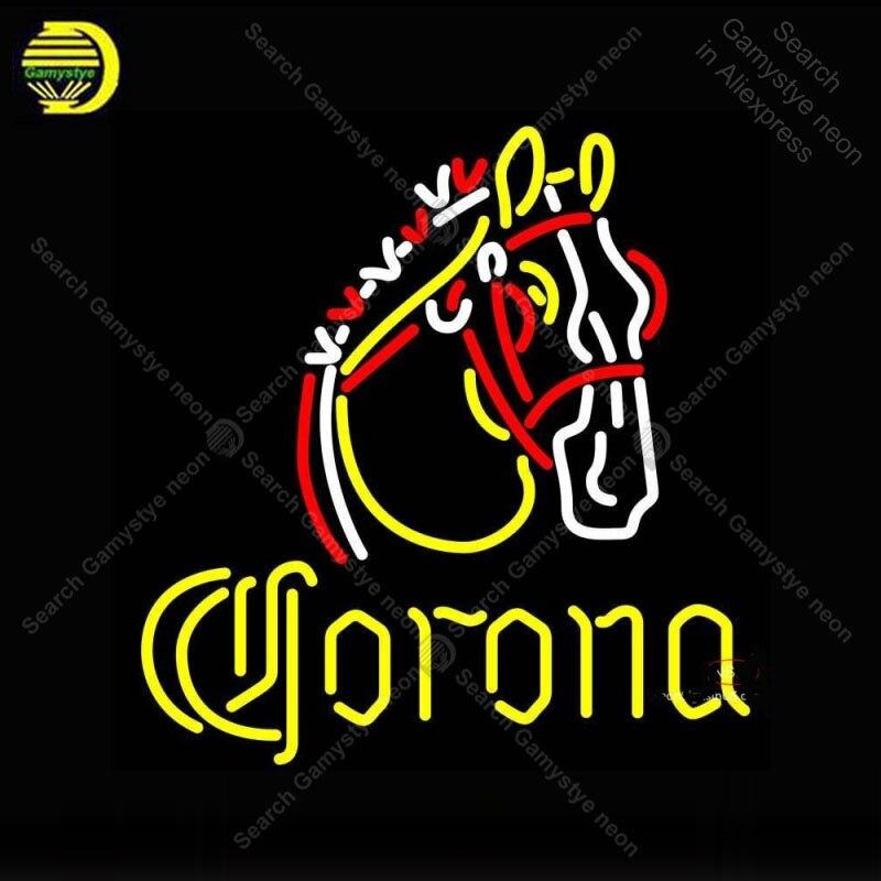 Enseigne néon pour Corona cheval néon enseigne décor bière Pub lumière chambre néon enseigne verre Tube lumière iconique anuncio luminoso