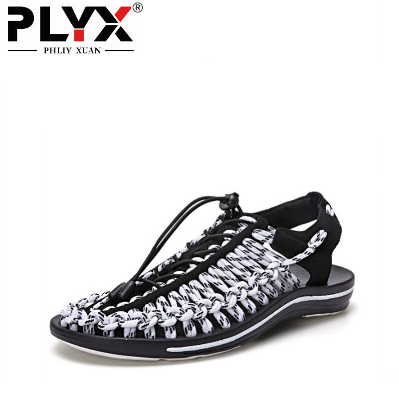 PHLIY XUAN 2018 Men Summer Shoes Sandals Striped Rope Upper Lazy Shoes Vietnamese Style Sandalias Hombre