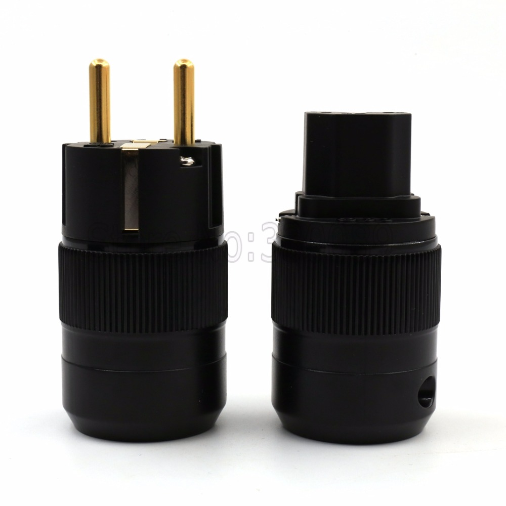 Free shipping 5pairs High End 24K Gold Plated Schuko AC power plug+IEC power connector free shipping 5pairs high end 24k gold plated schuko ac power plug iec power connector