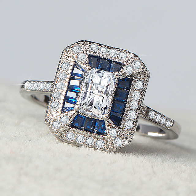 Diana Spencer Princess Ring Blue AAAAA Zircon Crystal Silvery Anniversary Wedding Band Rings For Women Men Finger