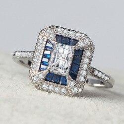 Diana Spencer prenses yüzük mavi AAAAA zirkon kristal gümüş yıldönümü düğün Band yüzükler kadınlar için erkekler parmak