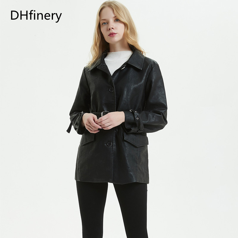 DHfinery   Leather   Jacket Women 2019 long section single-breasted Korean version of the loose motorcycle jacket lapel jacket P055