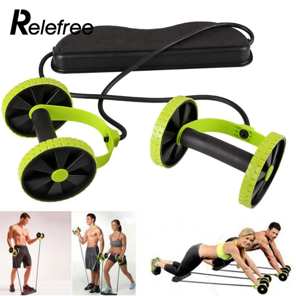 Abdominal roller yoga resistance pull rope dual wheels sports elastic ab crossfit exercise fitness home gym