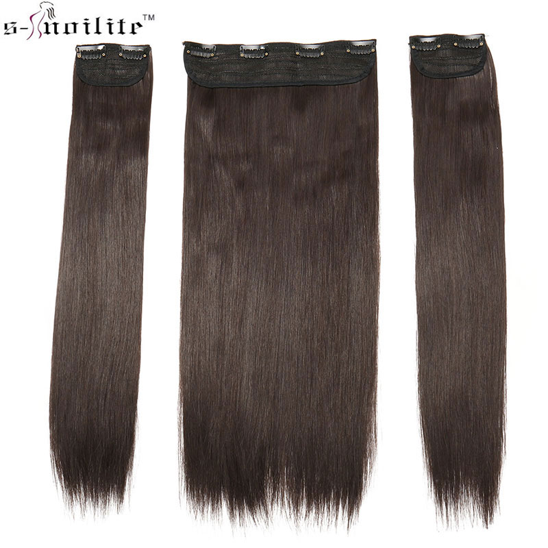 SNOILITE 20inch 8clips in one hair extension 3pcs/set straight long hair extensions hairpiece for women High Temperature Fiber ...
