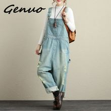 Genuo New Womens casual loose denim overalls Ladys oversized hole ripped baggy jeans Wide leg pants for woman