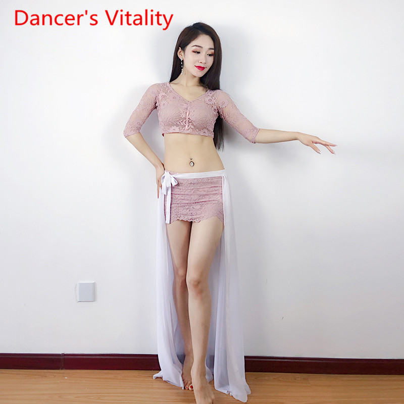 Belly Dancing Practice Women's Blouse Skirt Suit 2019 New  Sexy Stage Performance Clothing Women BellyDance Suit M L-in Belly Dancing from Novelty & Special Use    1