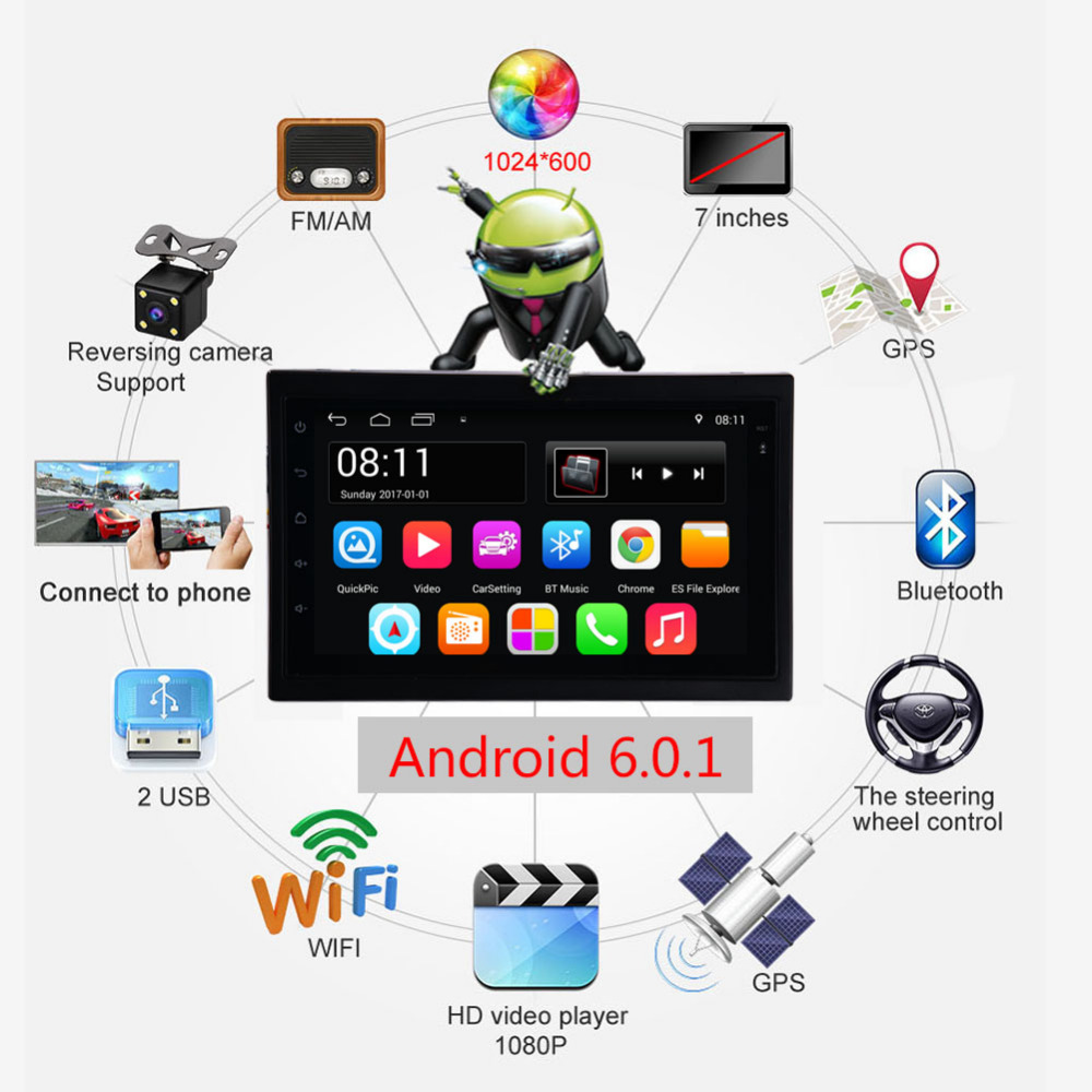 Universal Android 6.0 System 2 Din 7 inch Touch Screen MP5 Autoradio Car GPS Navigator Multimedia USB WIFI Audio Video Player