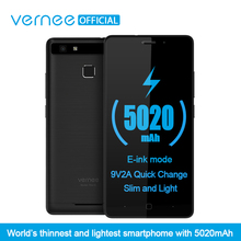 "Vernee Тор E 5 ""HD 4 Г LTE Мобильный Телефон MTK6753 Окта-ядерный Android 7.0 Сотовые Телефоны 3 Г RAM 16 Г ROM 5020 мАч Отпечатков Пальцев Смартфон"