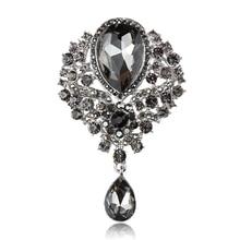 baiduqiandu Assorted Colors Vintage Glass Crystal Teardrop Brooch Pins for DIY Wedding Bridal Bouquets Jewelry Accessories