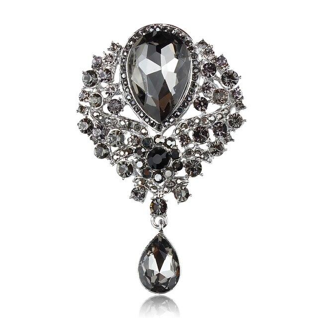 baiduqiandu Assorted Colors Vintage Glass Crystal Teardrop Brooch Pins for DIY W