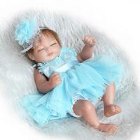 Mini Real Life Cute Newborn Baby Doll Sleepping Girl 10inch Full Body Silicone Reborn Dolls White/Purple/Blue Princess Dress