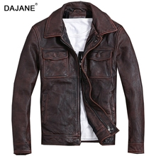 DAJANE cow real leather genuine thick jacket old leather jacket red brown vintage leather men motorcycle бра artis luce ar 91004