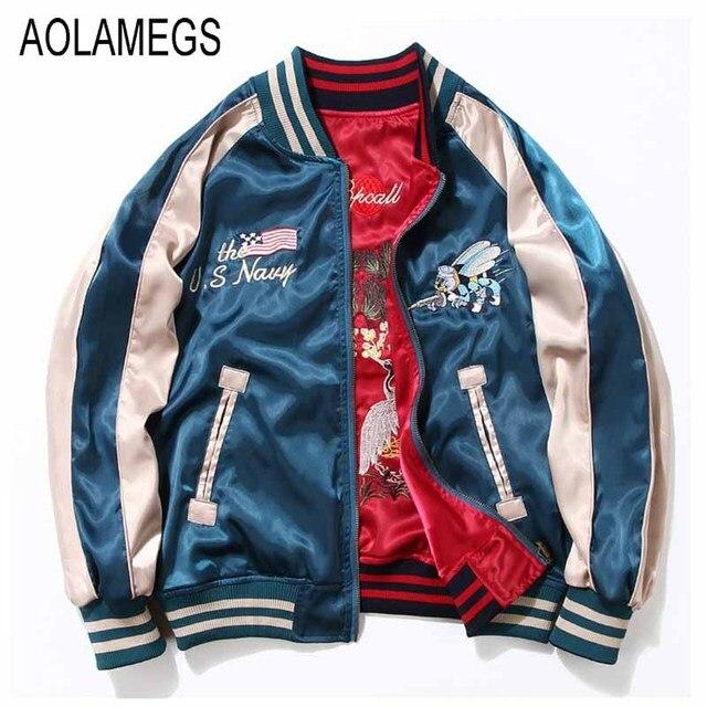 Aolamegs Japan Yokosuka Embroidery Jacket Men Women Fashion Vintage Baseball Uniform Both Sides Wear Kanye West Bomber Jackets