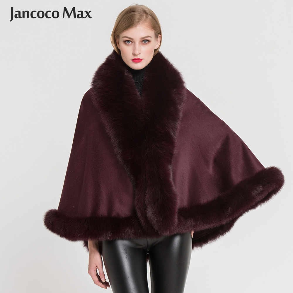 Women Real Fox Fur Poncho Fashion Style Cashmere Capes Winter Thick Warm Fur Cloak Top Quality S7358