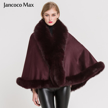 Women Real Fox Fur Poncho Fashion Style Cashmere Capes Winter Thick Warm Cloak Top Quality S7358