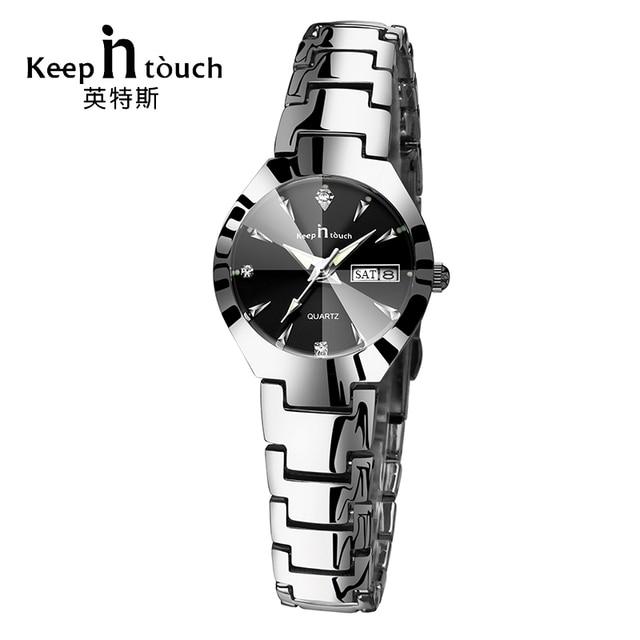 KEEP IN TOUCH Black Silver Watch Women Quartz Calendar Rhinestone Dress Bracelet