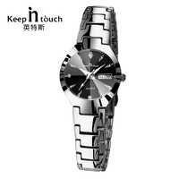 KEEP IN TOUCH reloj de plata negro para mujer Calendario de cuarzo pulsera de vestir de diamantes de imitación reloj de mujer luminoso reloj femenino