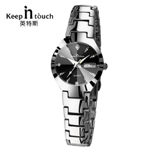 KEEP IN TOUCH Black Silver Watch Women Quartz Calendar Rhine