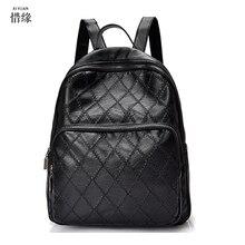 Мода Женщина PU женщин рюкзак случайные опрятный кожаный Черный Рюкзаки Женские Девушки школьные Сумки Женские Рюкзак сумки на ремне,