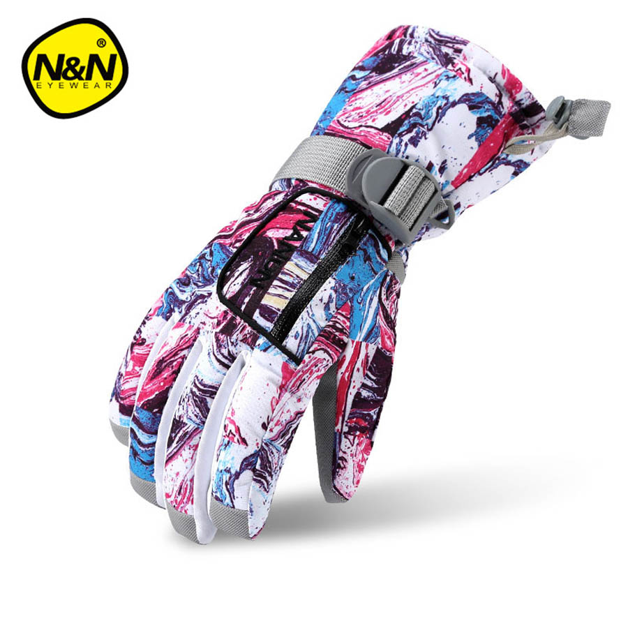 Womens leather ski gloves - Winter Women S Gloves Waterproof Snowboard Ski Gloves Leather Snowmobile Riding Motorcycle Nandn Windproof Snow Gloves Ns5001