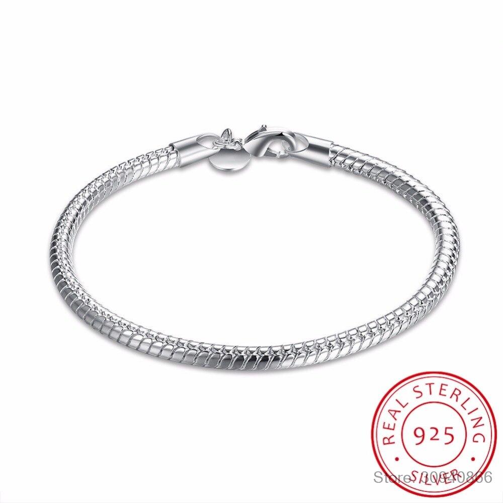 LEKANI Statement 925 Sterling Silver 4mm Snake Chain Bracelet For Women Girl Newest Fine Jewelry