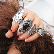 New Bohemia Vintage Jewelry Unique Carving Tibetan Silver Color Midi Ring Set for Woman Punk Boho Ring Sets(China)