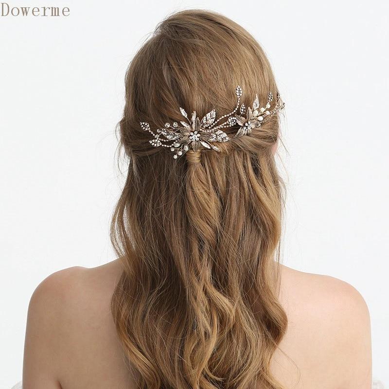 Leaf boho hair pins set Prom hair accessories Rhinestone bridal hair piece set Bride crystal headpiece silver gold or rose gold