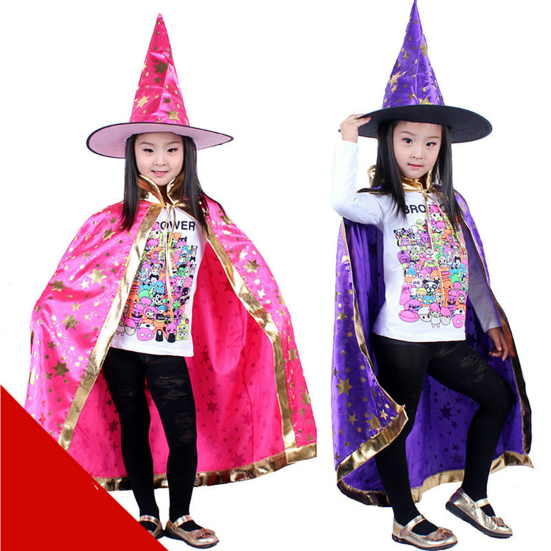 Robe And Wizard Hat: 130G Halloween Party Accessories Boys And Girls Cloak