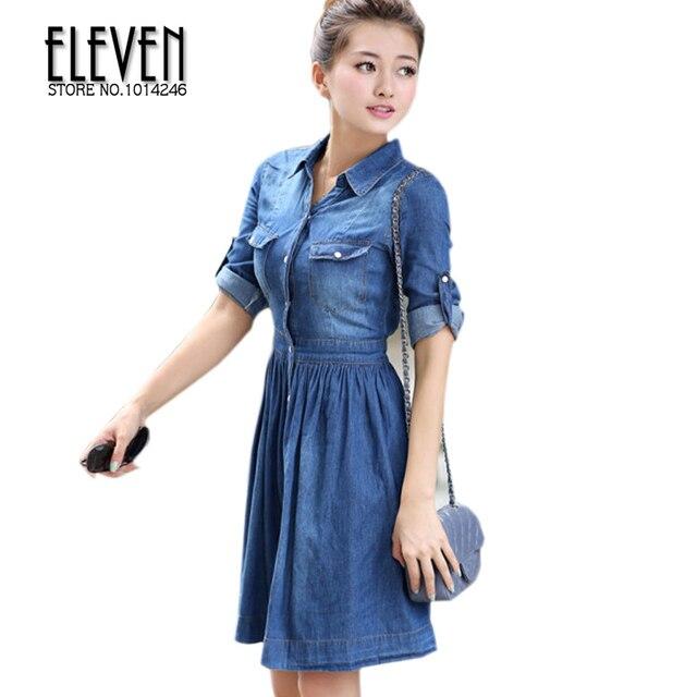 6bf03f4a7 Primavera vestido, mulher, europeu e americano azul Denim feminino  vaqueiros vestidos