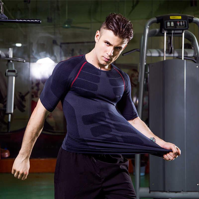 Liquidación Logo camisa de compresión personalizada entrenamiento Deporte Running Camiseta corta Jogging camiseta hombres jersey de fitness Rashgard gym shirt