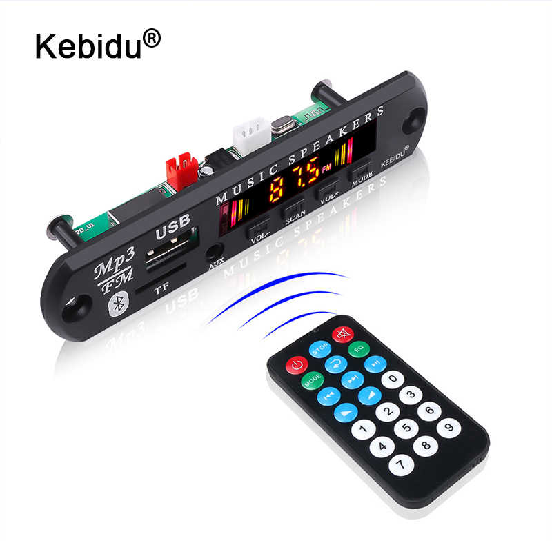 Kebidu Bluetooth 5.0 Receiver Mobil Kit MP3 Pemain Decoder Papan Warna Layar FM Radio TF USB 3.5 Mm AUX Audio untuk iPhone X
