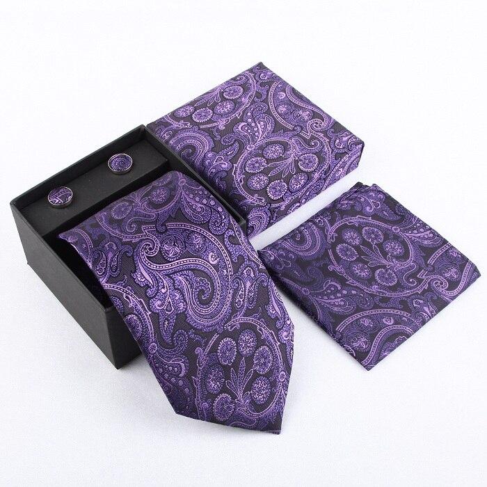 Мужская мода высокого качества набор галстуков галстуки запонки шелковые галстуки Запонки Карманный платок - Цвет: 30