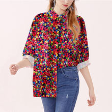 цена на 90s Fashion Colorful Candy Print Shirt Women Dress Shirt Luxury Casual Business Slim Fit Vintage Graphic Shirts Womens Plus Size