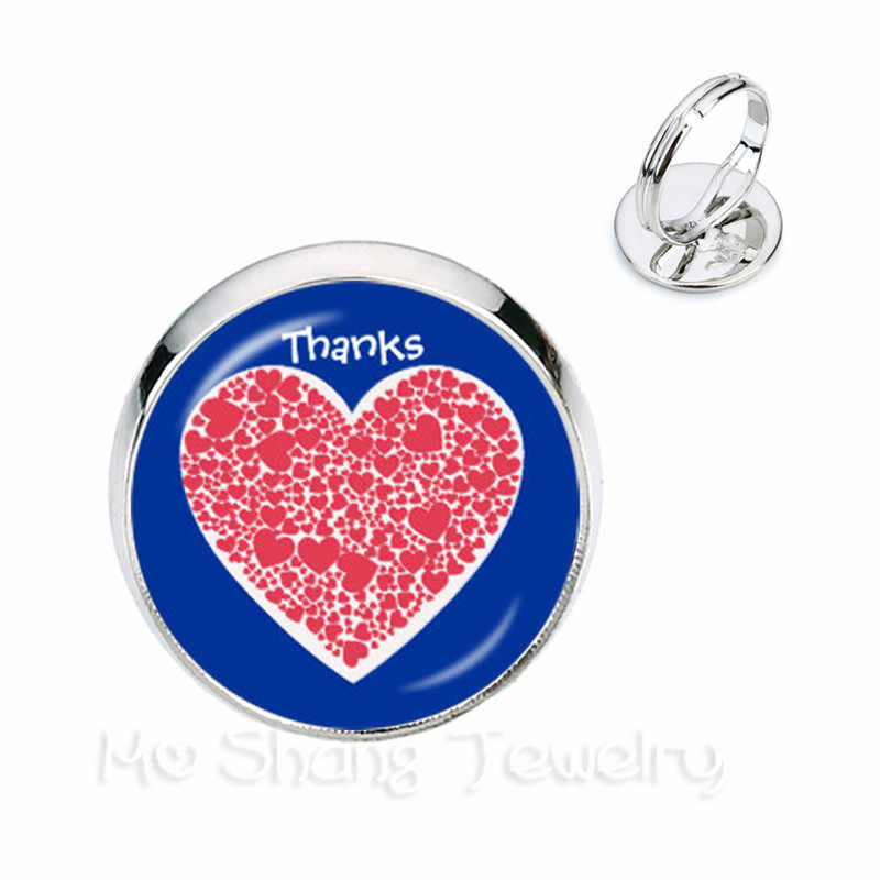 Fashion Je Suis une MaiTresse Quote Rings Round Photo Merci Heart Rings Handmade Gifts Girl Glass Jewelry Thanksgiving Gift