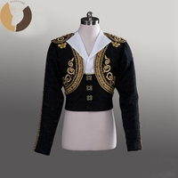 FLTOTURE BLM010 Black Spanish Man Top Dance Wear Professional Ballet Tunic For Ballet Competition Custom Made Prince Costumes