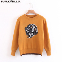 2017 Autumn Women S Rabbit Wool Sweater Brief Design Animal Pattern Female Pullover GA8526 0801