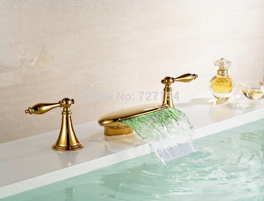 все цены на Free Shipping! LED Color Changing Waterfall Bathroom Basin Faucet Deck Mount Golden Sink Mixer онлайн