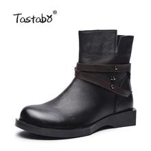 Tastabo Botas Femininas Ankle Boots de Couro para as mulheres botas feminina bota Sapatos de Couro Macio das Mulheres