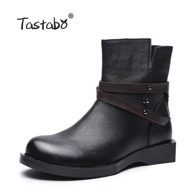 Tastabo Bottes Femme En Cuir Cheville Bottes pour femmes botas feminina bota Vachette Souple Chaussures de Femmes